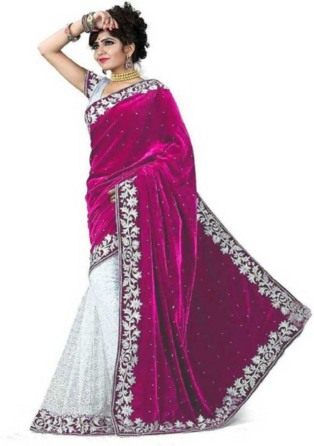 Pink Velvet Acro Wool Designer Saree With Blouse