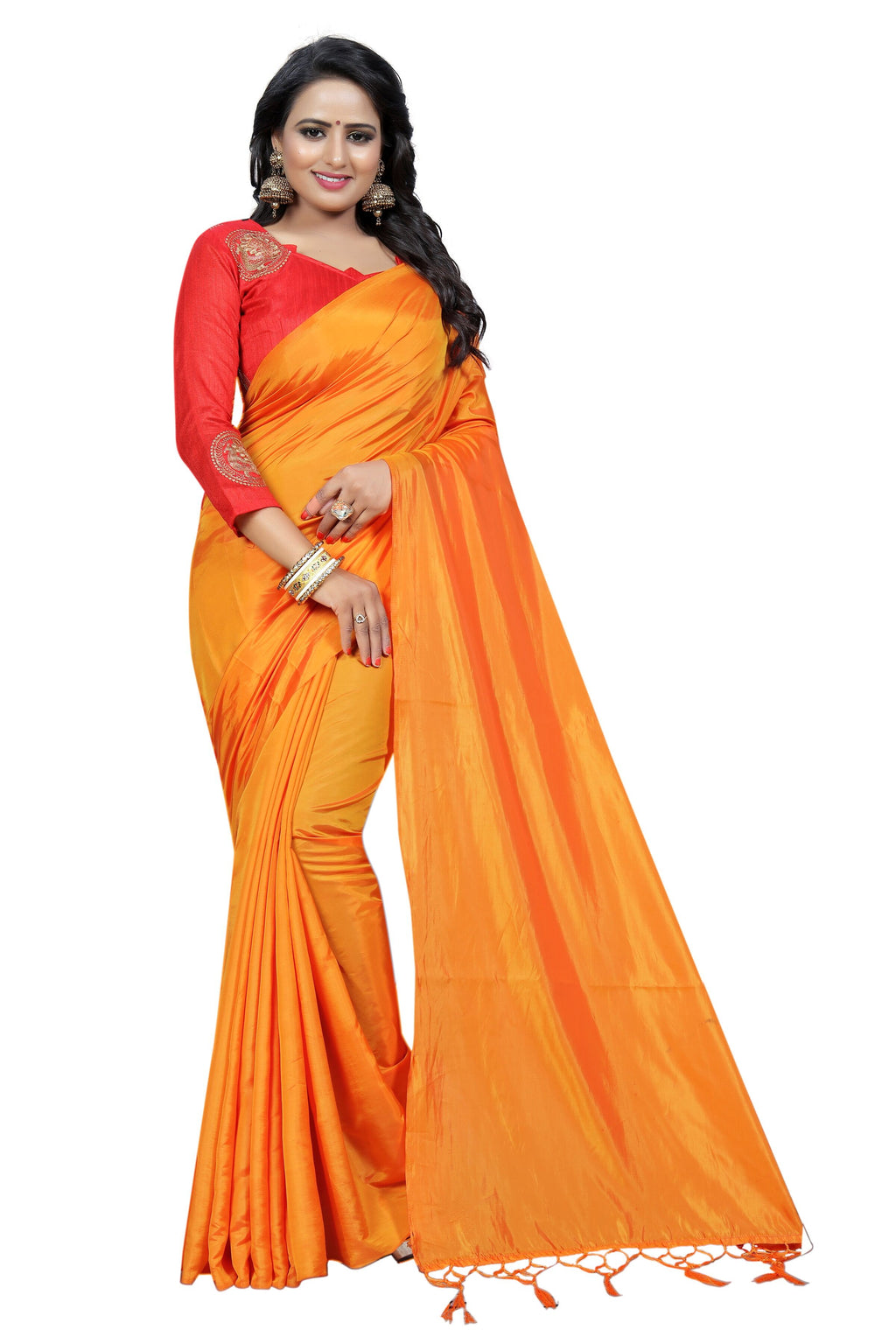 Orange Art Silk Designer Saree With Blouse