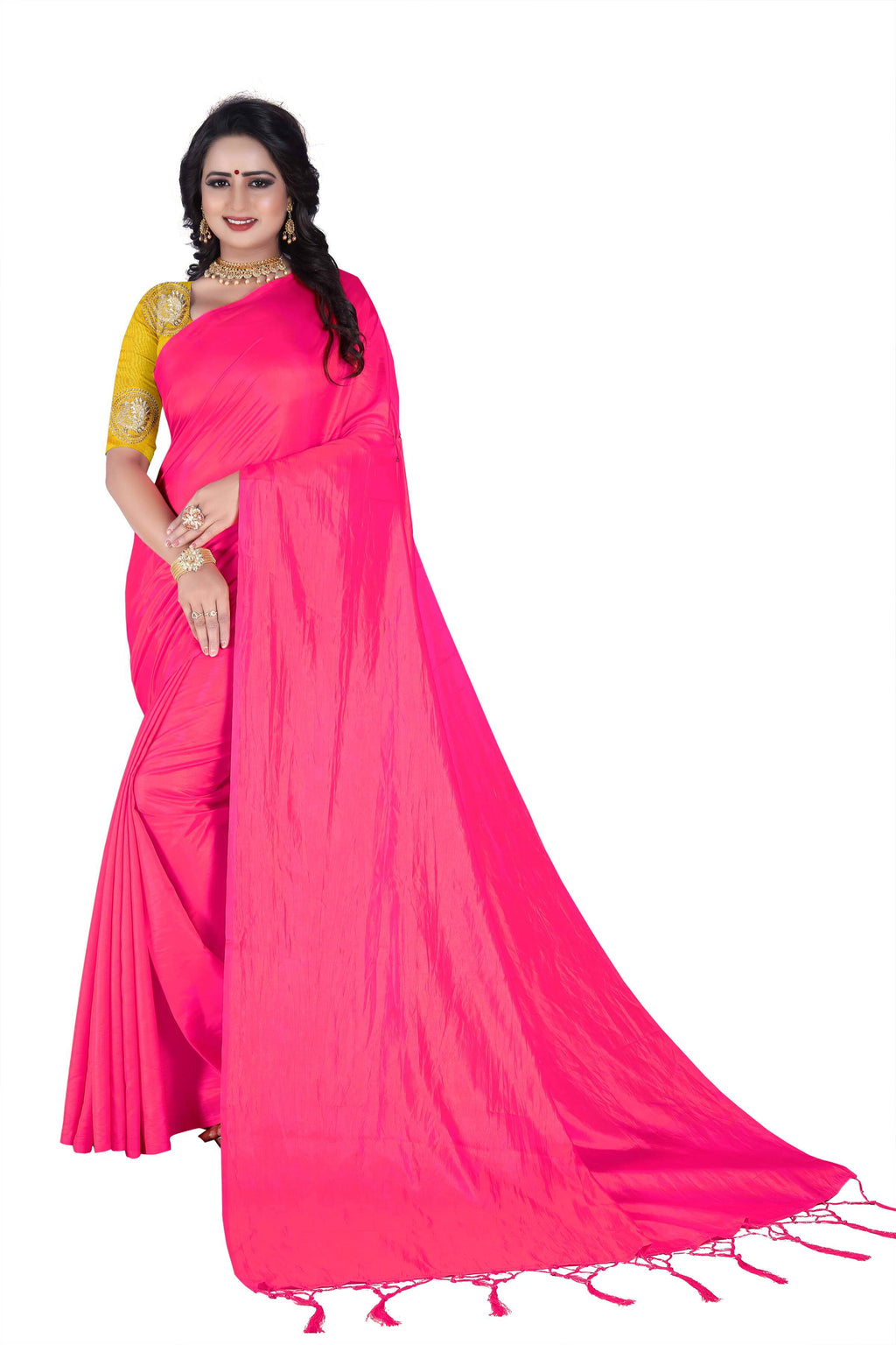 Pink Art Silk Designer Saree With Blouse