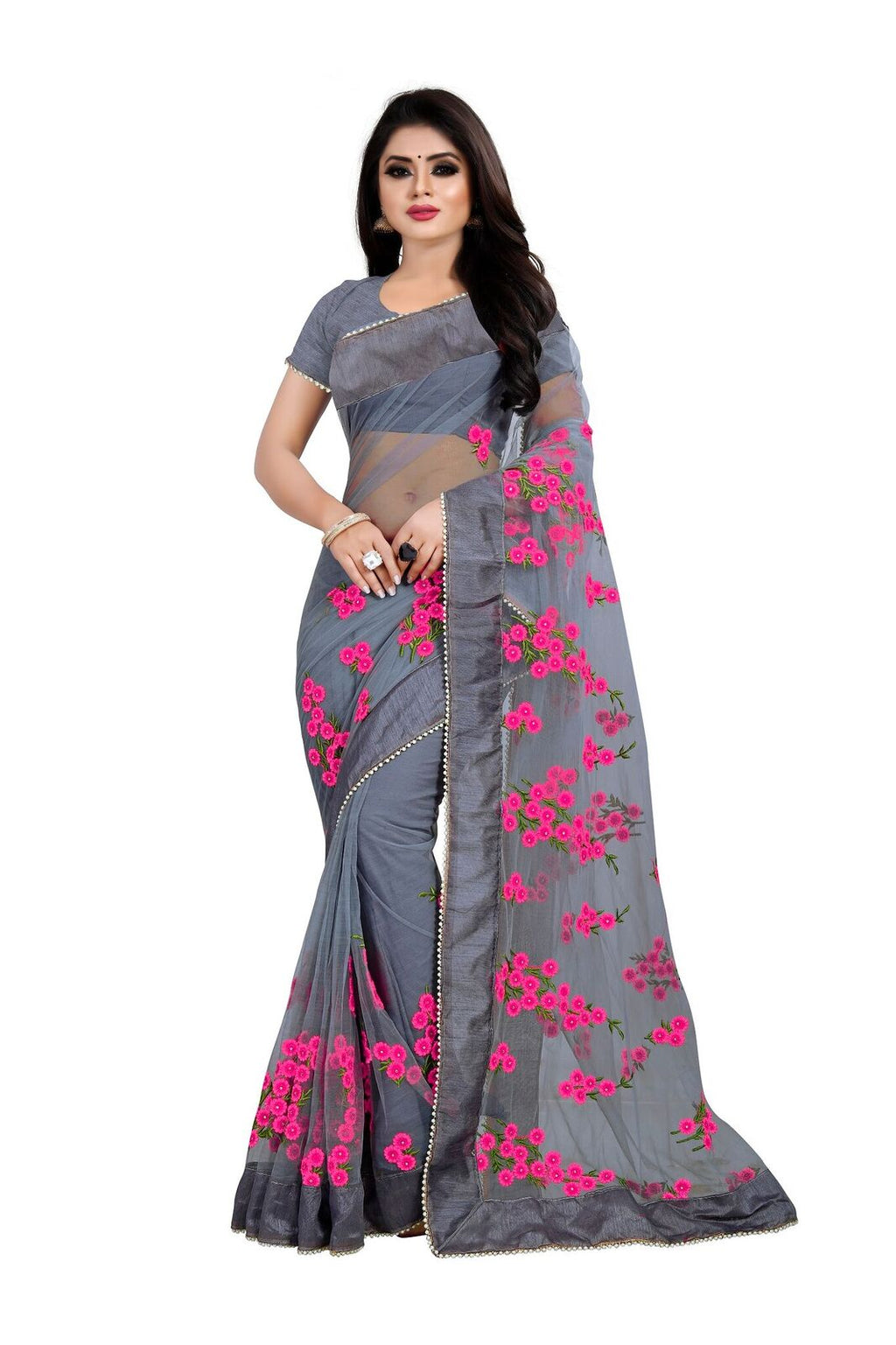 Grey Bandhej Designer Saree With Blouse