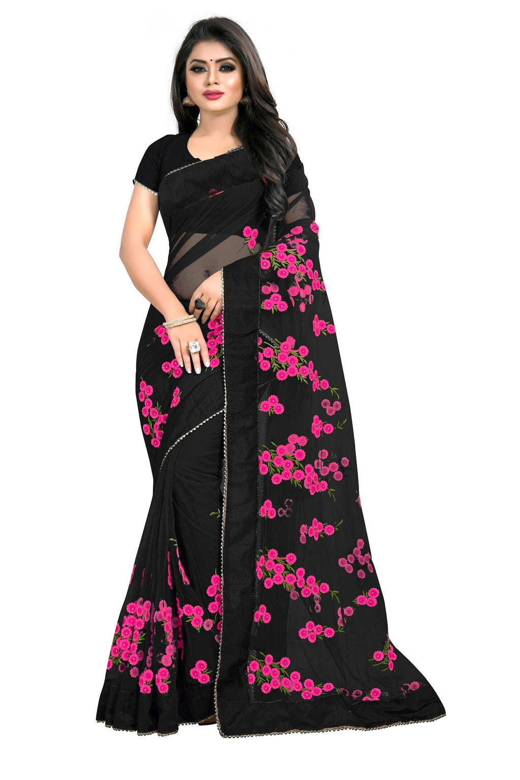 Black Bandhej Designer Saree With Blouse