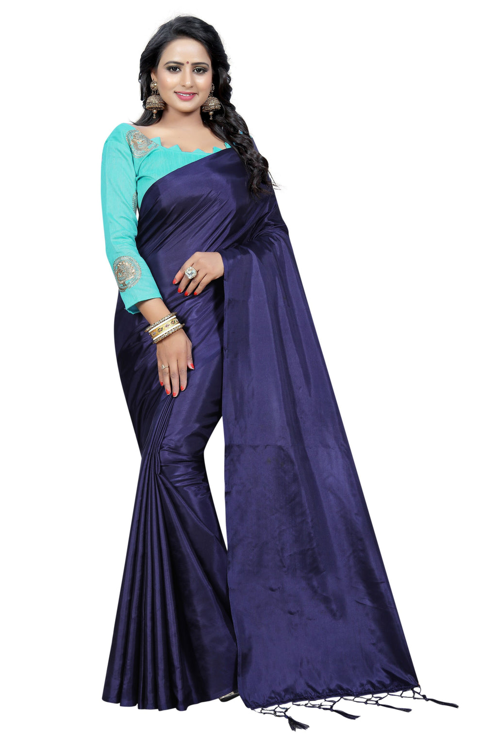 Navy Blue Art Silk Designer Saree With Blouse