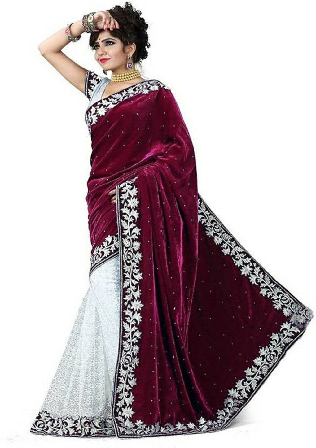Maroon Velvet Acro Wool Designer Saree With Blouse