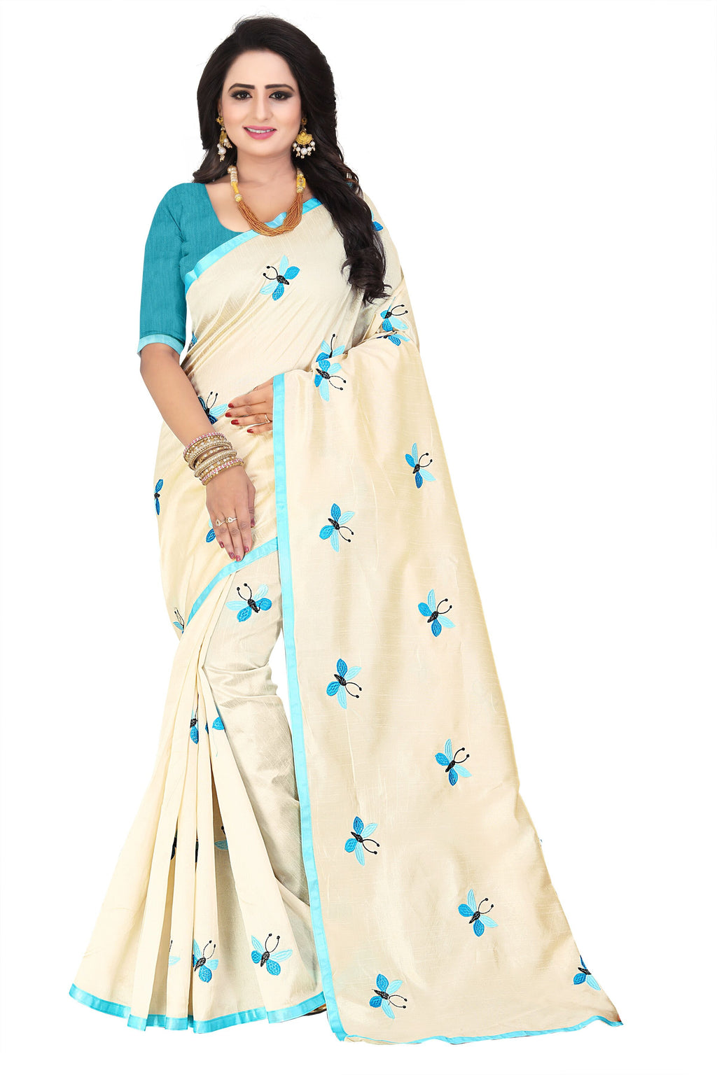 Sky Blue Banarasi Cotton Designer Saree With Blouse