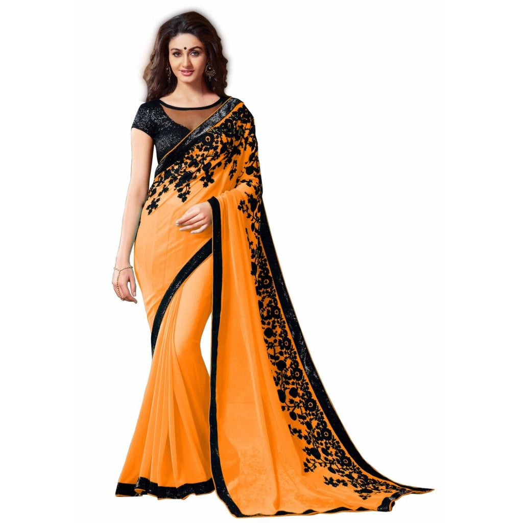 Mustard Orange Blended Georgette Designer Saree With Blouse