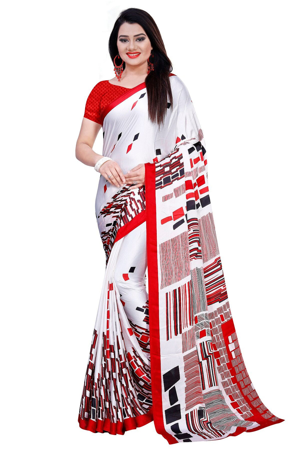 Red Art Silk Designer Saree With Blouse