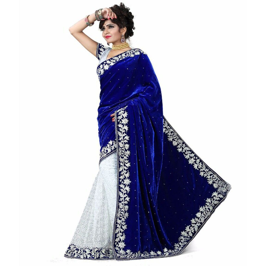 Blue Velvet Acro Wool Designer Saree With Blouse