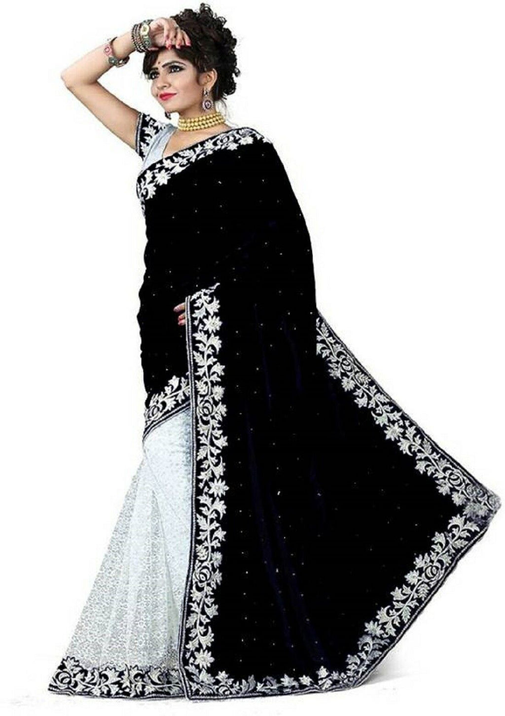 Black Velvet Acro Wool Designer Saree With Blouse