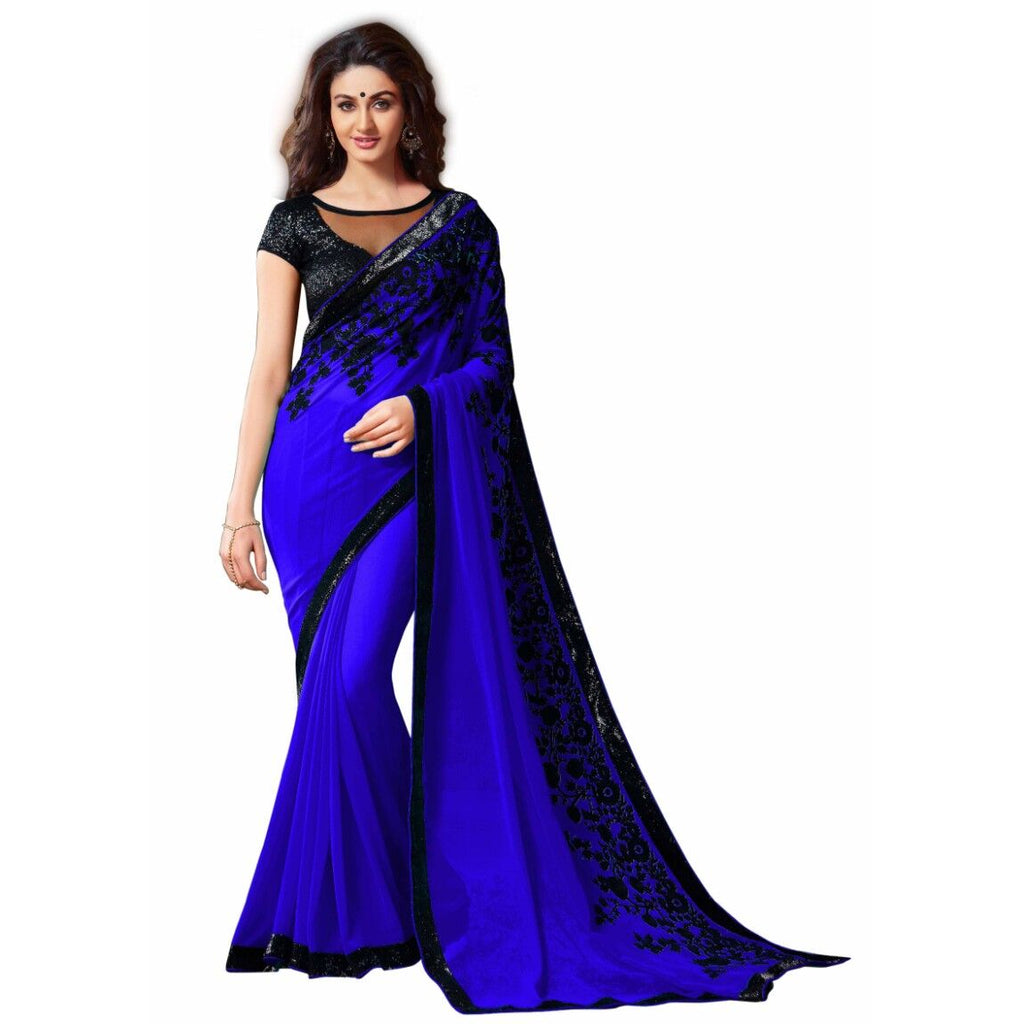 Blue Blended Georgette Designer Saree With Blouse