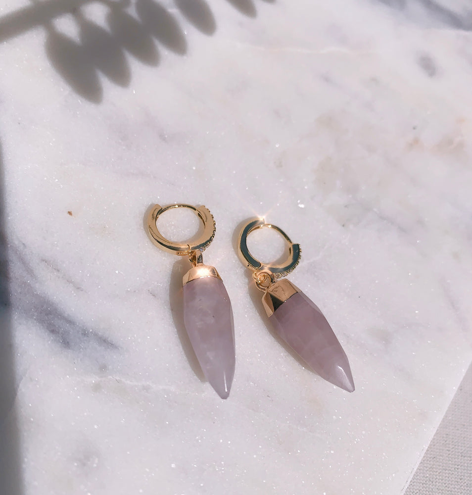 The Rose Quartz Hoops