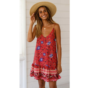 Beach Sexy Red Floral  Dress - Newyorkfashionstyles