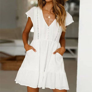 White  Sexy  Beach Party Dress - Newyorkfashionstyles