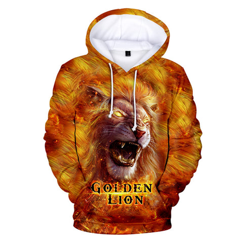 Goldren Lion 3D Print Hoodie Casual Long Sleeve Sweatshirt