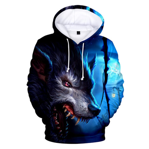 Anime Wolf 3D Print Hoodie Casual Long Sleeve Sweatshirt
