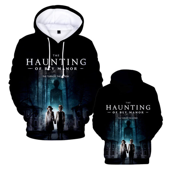 Mens Hoodie Haunting Print Hooded Sweatshirt Halloween Costumes