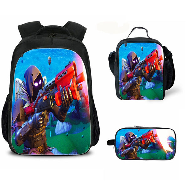 Raven Fortnite Backpack with Lunch Bag and pencil box for school