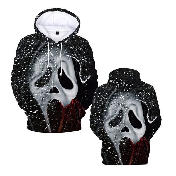 Mens Hoodie Scream Print Hooded Sweatshirt Halloween Costumes