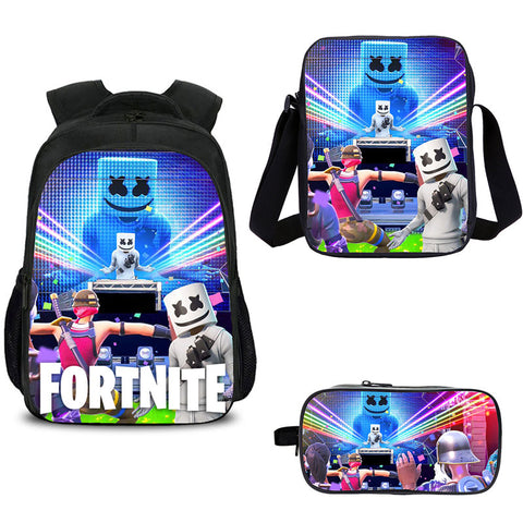 DJ Marshmello Fortnite Backpacks with shoulder bag and pencil box for school