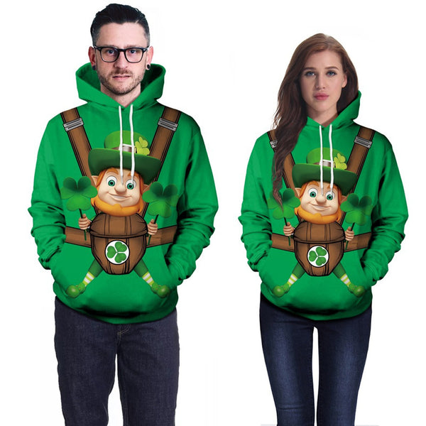 St. Patrick's Day Green Three-Leaf Irish Print Sweatshirt