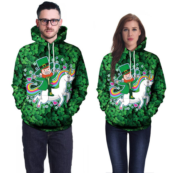 Irish Costume Lovely Unicorn Green Hat Festival 3D Hoodie