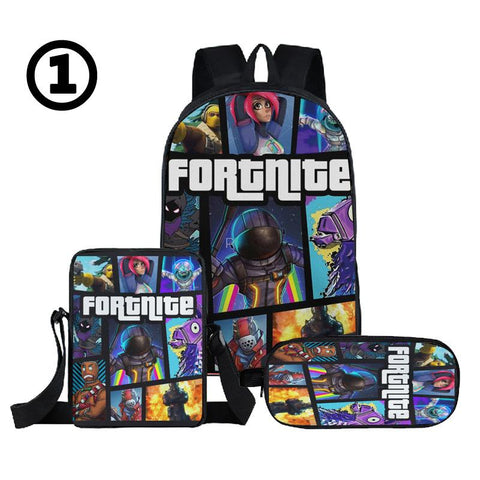 3PCS set Fortnite Backpack with shoulder bag and pencil box for school