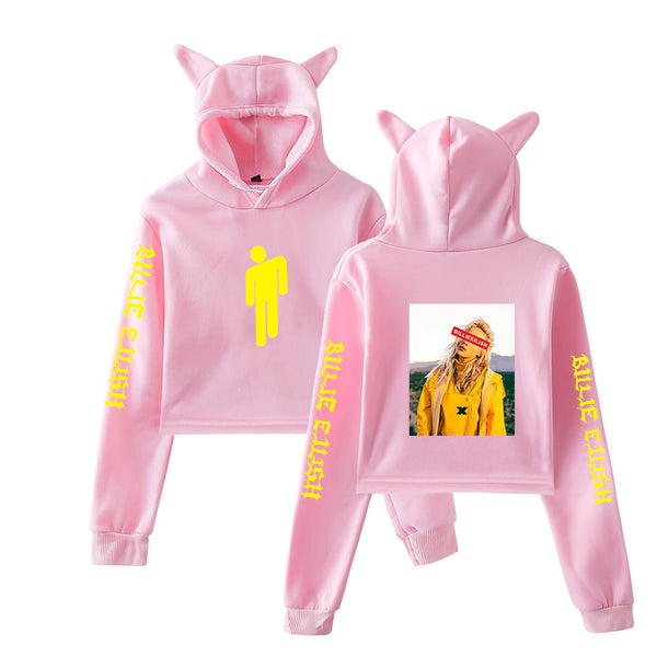 Women Girls Billie Eilish Cropped Hoodie Bunny Ear Hoody Sweatshirt