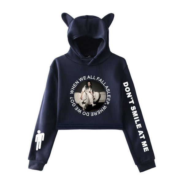 Billie Eilish Cropped Hoodie Cat Ear Sweatshirt New Arrival 2019