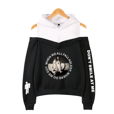 Billie Eillish Off Shoulder Pullover Sweatshirt Girls Hoodie