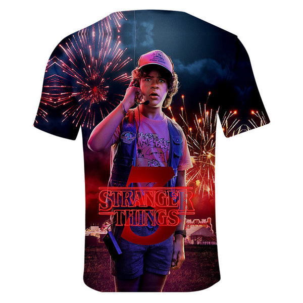 3D Stranger Things Print Short Sleeve Loose T Shirts