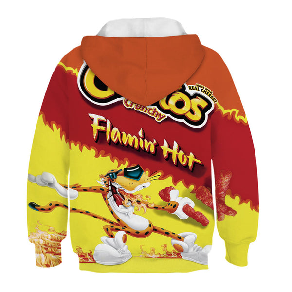 Kids 3D Cheetos Print Hoodie Funny Patterned Sweatshirt