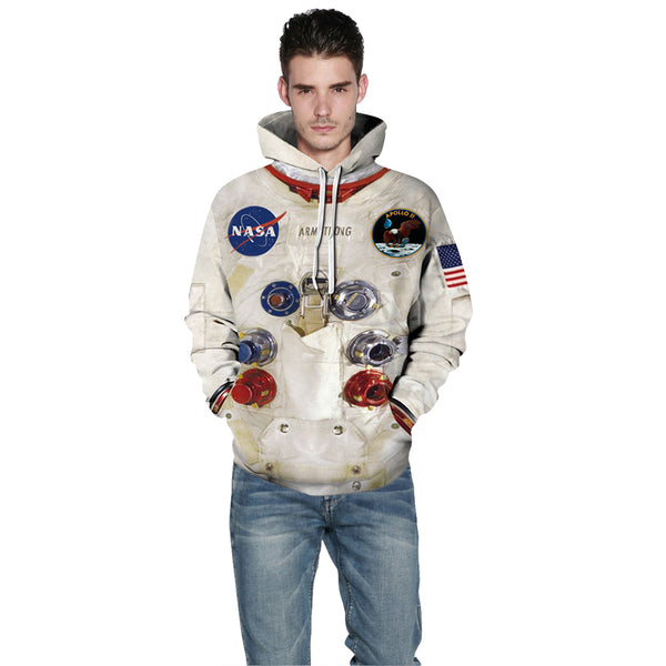 Men's 3D Print Space Suit Hooded Astronaut Sweatshirt Hoodies