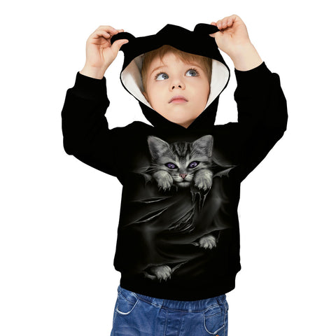 Kids Cute Cat Ear Hoodie 3D Printed Sweatshirt