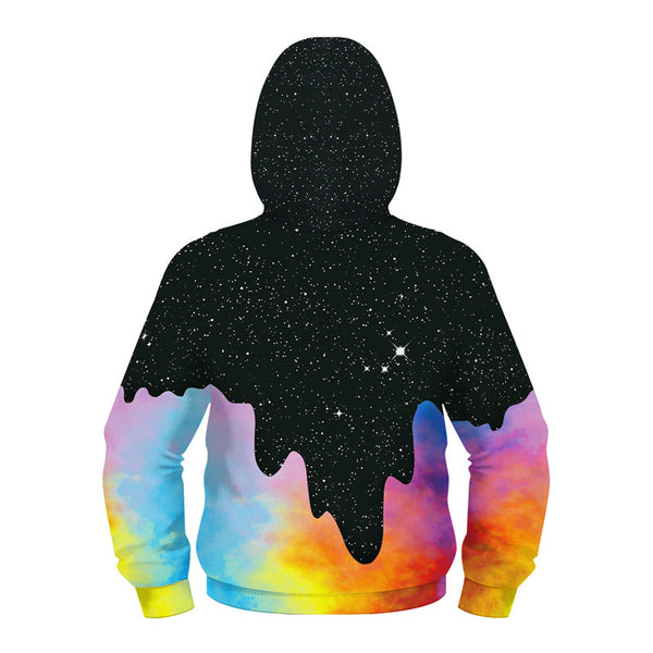 Kids Full Zip Hoodie Drip Milk Galaxy Print Sweatshirt