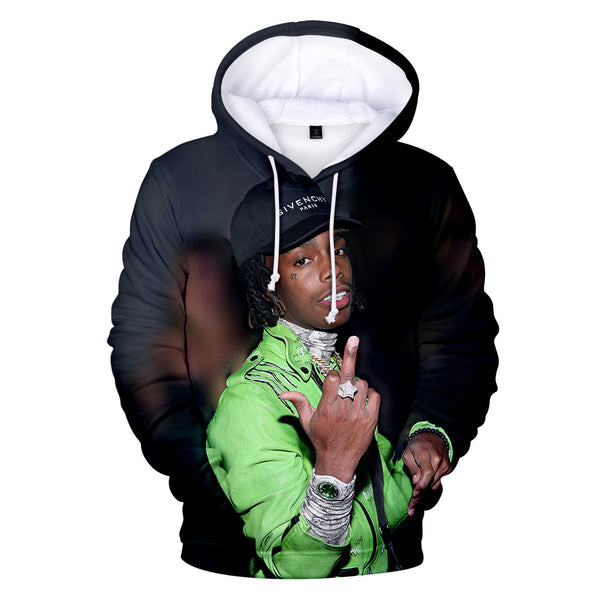 YNW Melly Print Hoodie 3D Vivid Pullover Shirt