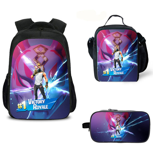 Fortnite Legendary Backpacks with Luch box and Pecncil Bag 3PCS