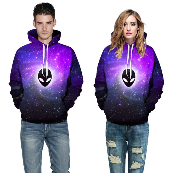 Sky Alien Ghost Hoodies 3D Printed Pullover Sweatshirt