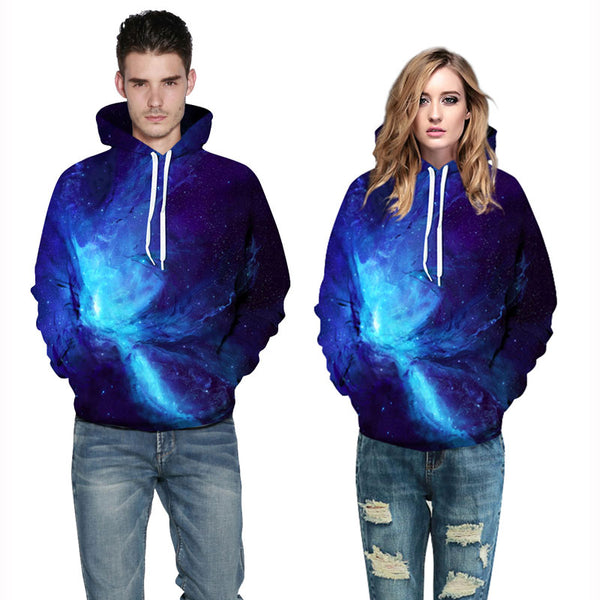 Light Galaxy Pullover Hoodie Blue Light Sweatshirt
