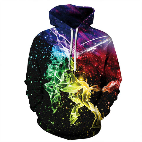 Galaxy Cross Horse Pullover Hoodies 3D Printed Sweatshirt