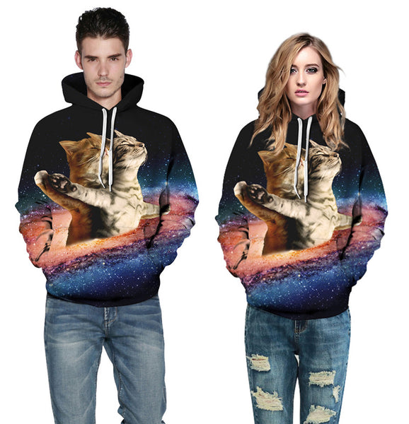 Double Cat Long Sleeves Hoodies 3D Printed Sweatshirt