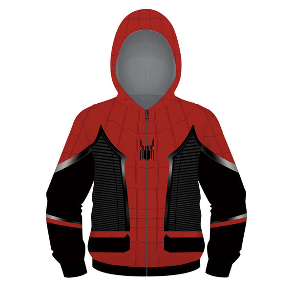 Kids Novelty Hoodie Spide-man Full-Zip Hooded Tops Cozy Sweatshirt