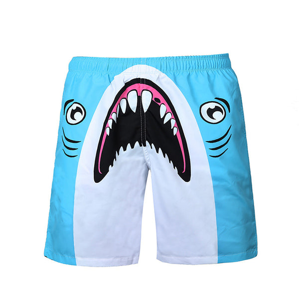 Beach Board Shorts  Shark Print Quick Dry Swim Trunk