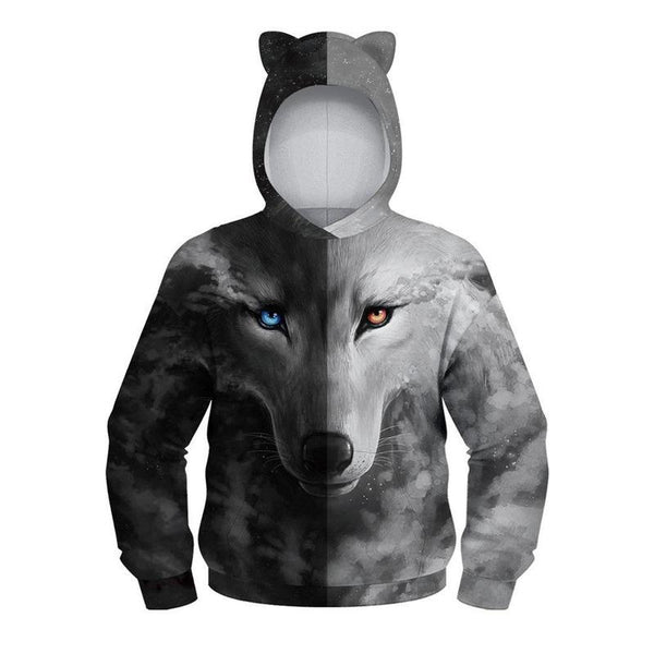 Kids Cat Ear Hoodie 3D Wolf Printed Long Sleeve Kangaroo Pouch Hooded Sweatshirts
