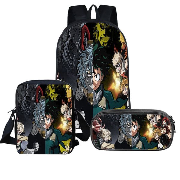 3Pcs My Hero Academia Backpack Sets Anime Backpack LunchBox Pencil Case