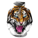 Mens Long Sleeve Pullover Hoodie 3D Print Tiger Sweatshirt