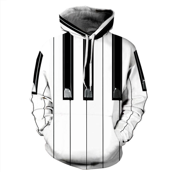 Piano key Geometric Abstract 3D Painted hoodie