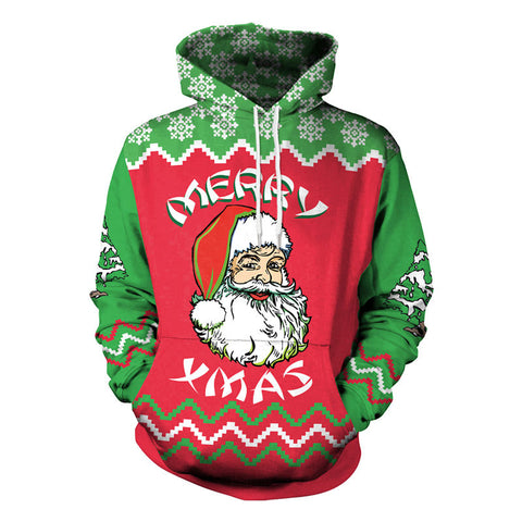 Christmas Santa Green and Red 3D Printed Hoodie Sweatshirt Pullover