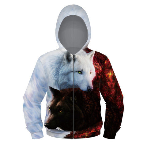 Kids Pullover Sweatshirts 3D Print Animal Full Zip Hoodie wolf lion