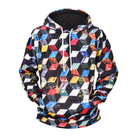 Digital Ladder Lattice Hoodie 3D Print Sweatshirt