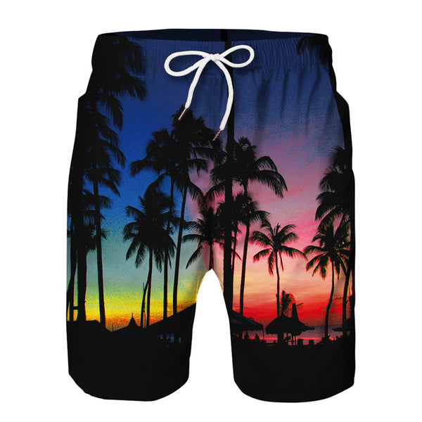 Mens 3D Printed Beach Board Shorts Quick Dry Swim Trunks