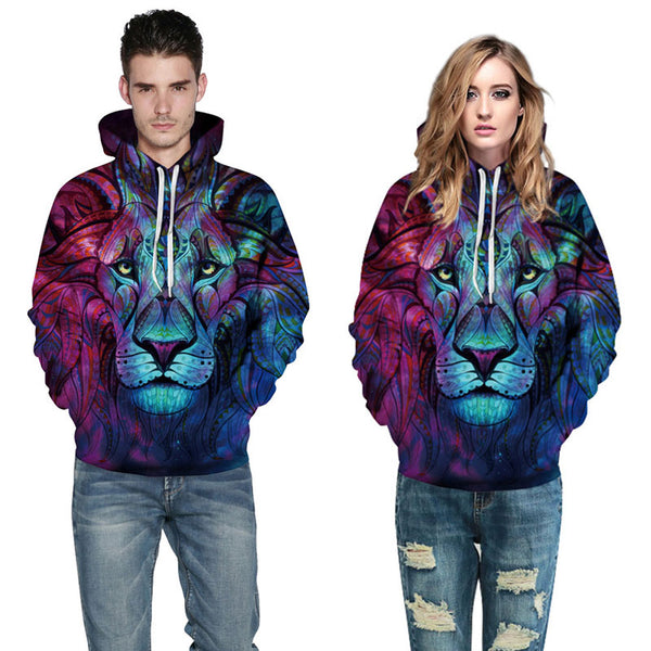 Lion Hoodies Long Sleeves 3D Printed Pullover Sweatshirt